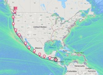 Shipping route from Nicaragua to Vancouver